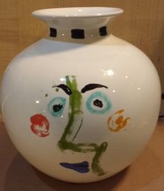 Large Picasso Faces Round Vase Modern Decor by suburbantreasure