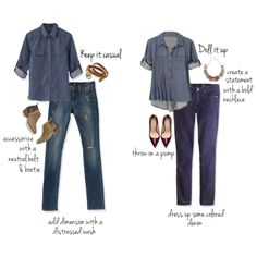 The casual style with either blouse.  I do like wearing flats with straight leg jeans.