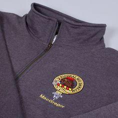 Zip neck sweatshirt with embroidered MacGregor Clan crest - only from ScotClans