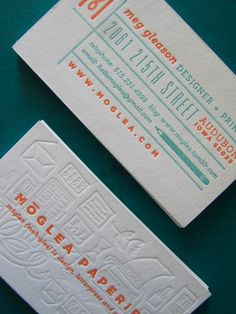 Meg Gleason's, of Moglea, Business card #letterpress #businesscard