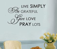 Wall Decal - Live Simply Vinyl Wall Decal.