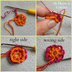 My Hobby Is Crochet: 2 Layered 8 petal thread flower- Free crochet pattern with tutorial