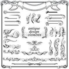 Vector: calligraphic design elements, page decoration set