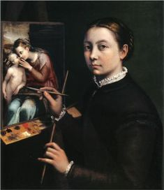 """""""Self-portrait at the Easel Painting a Devotional Panel"""" by Sofonisba Anguissola. Sofonisba Anguissola (also spelled Anguisciola) (c. 1532 – 16 November was an Italian Renaissance painter born in Cremona. Renaissance Artists, Italian Renaissance, Renaissance Paintings, Women Artist, Female Artist, Artemisia Gentileschi, Orazio Gentileschi, Female Painters, Painted Ladies"""