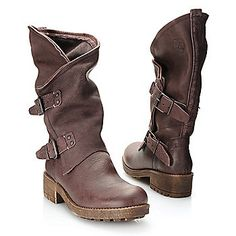 """Coolway """"Alida"""" Grain Leather Double Buckle Detailed Mid-Calf Boots"""