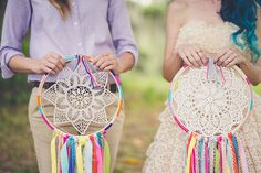 """Boho chic """"bouquets"""" made from embroidery hoops and doilies!"""