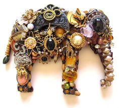 Sammie+Elephant+Vintage+Jewelry+Art+Wall+Decor+by+ArtCreationsByCJ,+$80.00