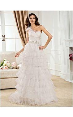 A-line One Shoulder Court Train Organza Wedding Dress