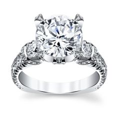 Love the high profile on this!  Michael M. 18K White Gold Diamond Engagement Ring Setting..