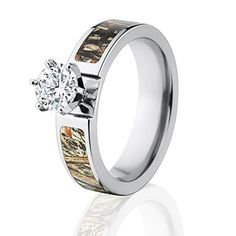 Camo Wedding Rings - Made In The USA.  Officially Licensed http://www.thejewelrysource.net/Mossy-Duck-Blind-Prong-Setting/dp/B00LF0PFC2 #camorings #duckblindcamo #womenscamorings