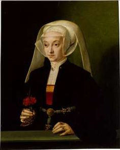 Portrait of a Young Woman, Barthel Bruyn.  May have pattern darning on the collar, need to find a higher res image.