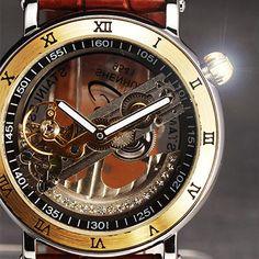 Men's Vintage Casual Mechanical Watch w/ Leather Strap Golden Color