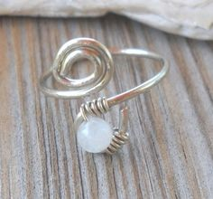 Rainbow Moonstone Wrapped Hammered Silver Wire Spiral Toe Ring Adjusta | pavlos - Jewelry on ArtFire