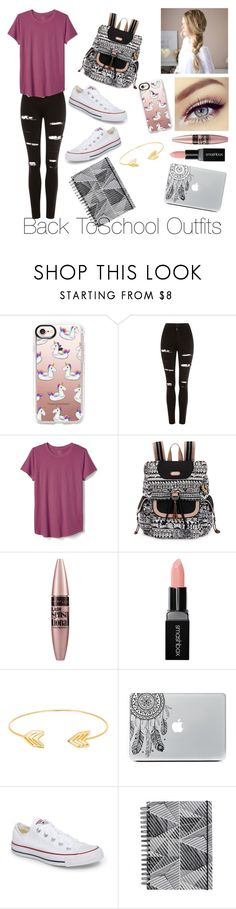 """""""Back To School Outfits #41"""" by gussied-up on Polyvore featuring Casetify, Topshop, Gap, Sakroots, Maybelline, Smashbox, Lord & Taylor and Converse"""