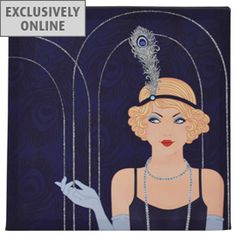 Dark Blue #Art #Deco Glitter Lady Printed Canvas    I need this...