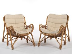 Pair of Rattan Six-Legged Chairs, Laurids Lønborg, Denmark