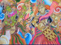 2 musicians in Kerala mural style painting