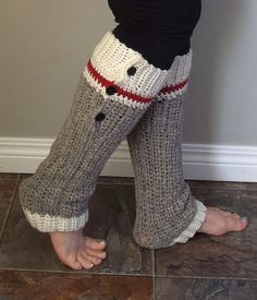 Wool Sock Leg Warmers Crochet Hat Pattern in PDF digital download, Sock Monkey Work Sock Style in Grey Red and White Stripes, Slight Heel, ribbed cuff, with three buttons tab, for size adult Small Medium Large and Extra Large, skill level easy, worsted weight yarn, Briggs & Little Wool or