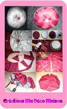upcycle your umbrella into a very large pincushion? A water resistant pillow? A tint, rainproof ottoman? A round object.