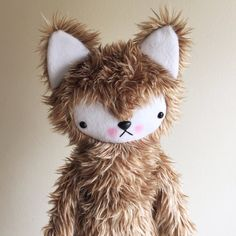 Kawaii Fox Wolf in Cream and Brown Shag Faux Fur Large