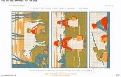 D.M.C. Point de Croix Nouveaux Dessins 2me Série, page 21, c. 1905. More stunning art nouveau and Provençale charted cross-stitch designs. Large patterns, milking, cow, milkmaids, fishing