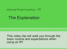 how to use the prose reading assessment  IPI - An initial Explanation