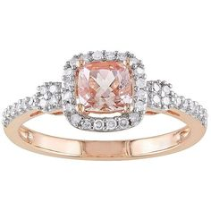 Cushion-Cut Genuine Morganite & Diamond 10K Rose Gold Ring (£680) ❤ liked on Polyvore featuring jewelry, rings, rose gold cushion cut ring, rose gold diamond jewelry, cushion cut diamond ring, cushion-cut ring and pink gold diamond rings