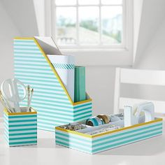 Printed Desk Accessories, Pool Stripe With Yellow Trim #pbteen