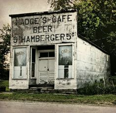 """Abandoned Roadside Cafe"" -- [*Madge's Cafe* in Millerton, Wayne County, Iowa]~[Photograph by Lights in the Old Farmhouse (Away) (Shari) - May 20 2012 - Millerton, Iowa - Old Abandoned Buildings, Abandoned Property, Abandoned Mansions, Old Buildings, Abandoned Places, Photo Post Mortem, Iowa, Beautiful Ruins, Old Country Stores"