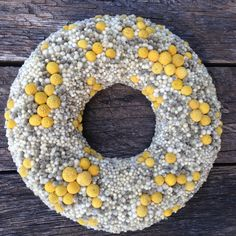 This simple yet cute colorful wreath is a great piece to add some you fulness to your home! This piece is put together out of a styrofoam base
