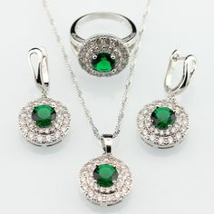 Green Imitated Emerald White Zircon Silver Plated Women Jewelry Sets Necklace Pendant Drop Earrings Rings Merry Christmas Gift