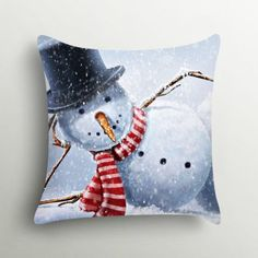 Stybuzz Funny Christmas Snowman White Cushion Cover  #XmasWithFabFurnish #gift #Christmas #snowman #muffler