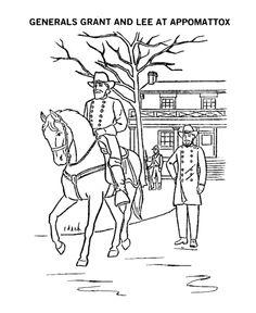 america civil war coloring pages general lee surrenders