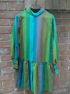 Vintage Polly Flinders Striped Drop Waist Dress