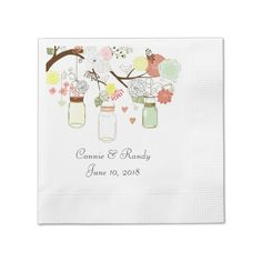 Mason Jar Paper Wedding Napkins Coined Cocktail Napkin