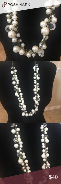 "Pearl & Crystal Drops Long Necklace Pearl & Crystal Drops Long Necklace, multi sized faux pearls, round clear crystals on an antique brass chain, nickel free, 32"" approximate length, lobster clasp with 2"" extender. Retail $68. New in packaging. Chloe + Isabel Jewelry Necklaces"
