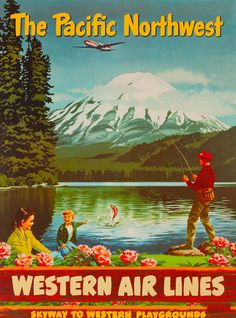 Pacific Northwest Washington United States America Travel Advertisement Poster 7 in Collectibles, Souvenirs & Travel Memorabilia, United States, Washington Poster Ads, Advertising Poster, Travel Ads, Airline Travel, Air Travel, States In America, United States, Vintage Travel Posters, Vintage Airline