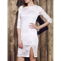 Trendy Round Neck 3/4 Sleeve Hollow Out Dress For Women #CLICK! #clothing, #shoes, #jewelry, #women, #men, #hats, #watches