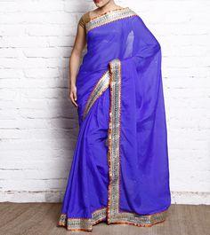 Purple & Silver Crepe Saree With Gota Patti #ethnicwear #saree #crepe #gotapatti #summer #indianroots