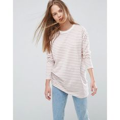 ASOS Stripe T-Shirt with Long Sleeve in Oversize Fit ($23) ❤ liked on Polyvore featuring tops, t-shirts, multi, scoop-neck tees, longsleeve t shirts, oversized tee, striped long sleeve t shirt and jersey t shirt