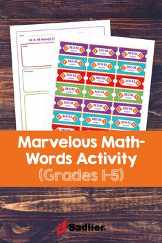 This simple printable activity gets students excited about learning math vocabulary words. It includes an incentive program where students earn tickets they can redeem for a fun prize. Math Vocabulary Words, Math Words, Math Teacher, Teaching Math, Math Resources, Math Activities, Free Math Games, Engage In Learning, R Words