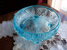 Gorgeous Aqua Blue Depression Glass Bowl Pressed Glass Diamond and Fan Pattern - vintageantiquehare on Etsy