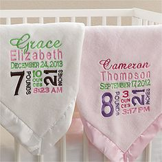 Personalized Baby Blankets for Boys and Girls - It features all the Birth Announcement information so they can treasure it forever! LOVE this idea! It's the perfect gift for a new baby! #Baby #Blanket