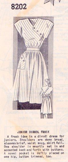 61c172e7cce 1940s Junior Dirndl Dress Vintage Sewing Pattern