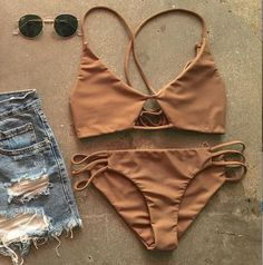 Sexy Strappy Bikini Set Retro Swimsuit Swimwear