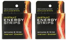 Flavored energy strips quickly dissolve on the tongue to provide fast acting, caffeine-free energy