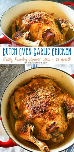 Dutch Oven Garlic Chicken is a simple chicken dinner recipe that takes just a few minutes of prep & a couple hours to cook. Easy family dinner ideas like roasted chicken are great! I love how simple it is! via @KleinworthCo