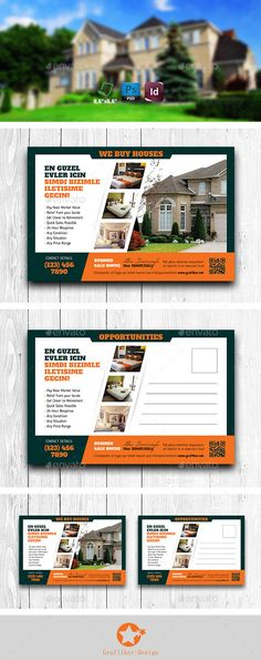 Real Estate Postcard Templates #design Download: http://graphicriver.net/item/real-estate-postcard-templates/11902988?ref=ksioks