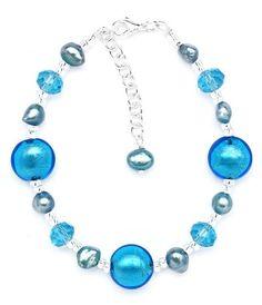 Amanti Venezia Blue Freshwater Pearl, Turquoise Crystal and Genuine Murano Bracelet of 22.5cm