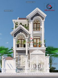 Ideas For Design House Front Modern Architecture Two Story House Design, Classic House Design, Bungalow House Design, House Front Design, Modern House Design, Narrow House Designs, Latest House Designs, Cool House Designs, Model House Plan